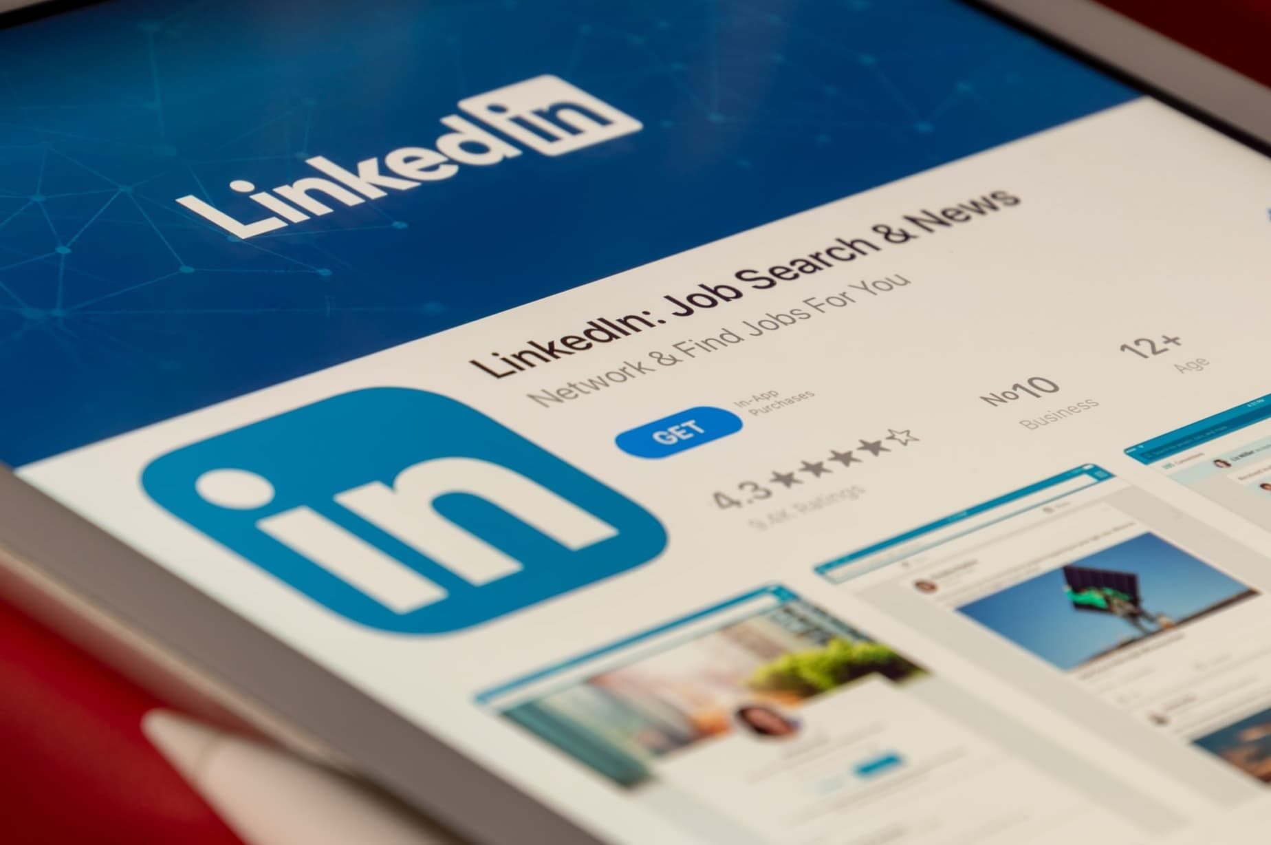 LinkedIn application opened on a tablet
