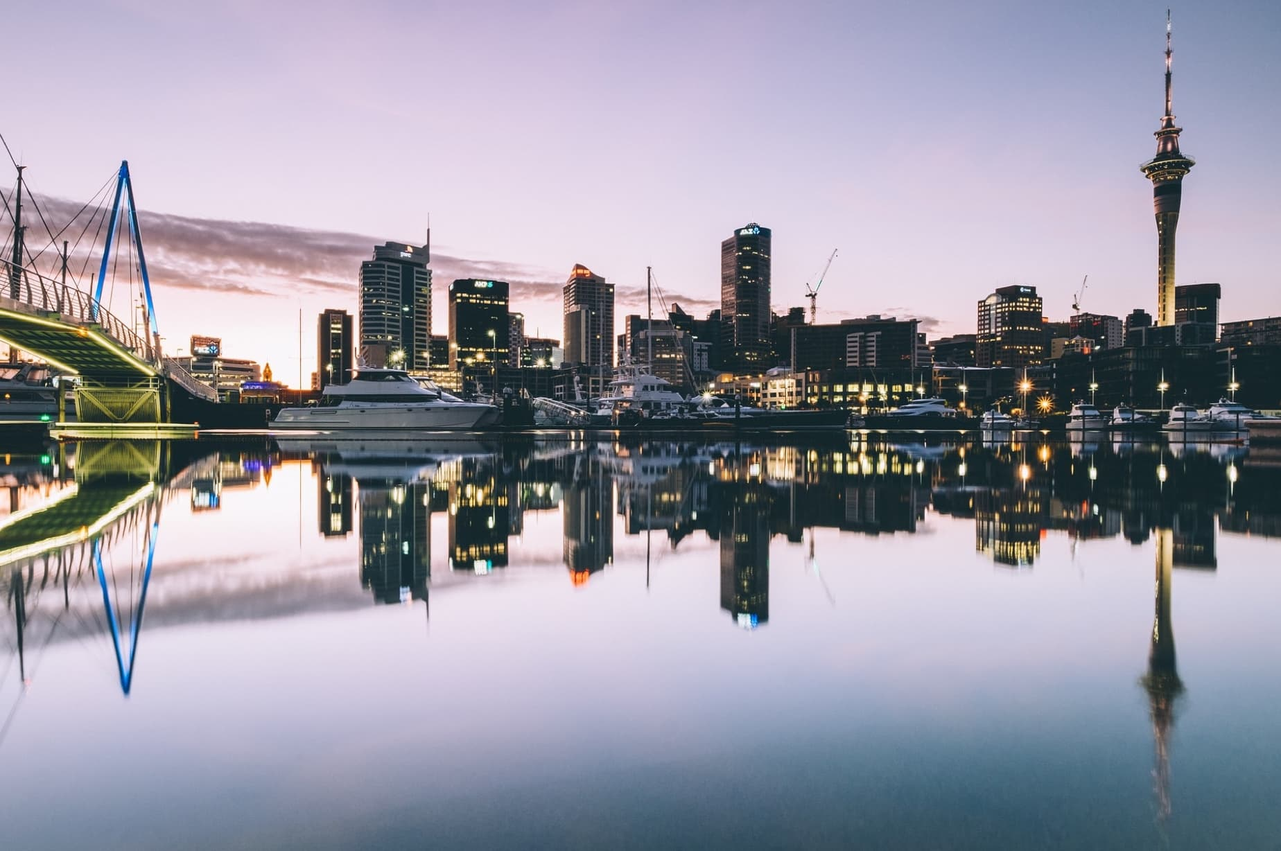 New Zealand City Skyline algong with it's complete reflection on the water